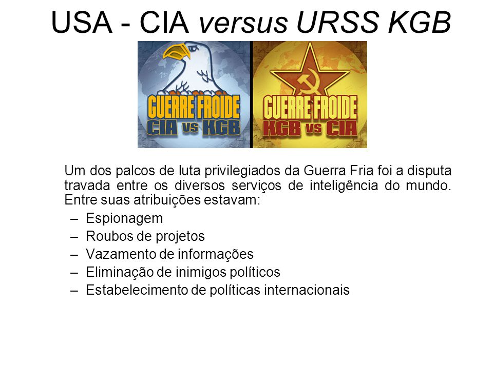 USA - CIA versus URSS KGB