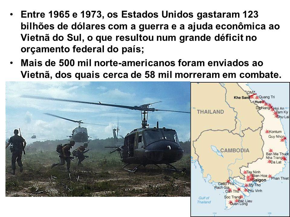 Entre 1965 e 1973, os Estados Unidos gastaram 123 bilhões de dólares com a guerra e a ajuda econômica ao Vietnã do Sul, o que resultou num grande déficit no orçamento federal do país;