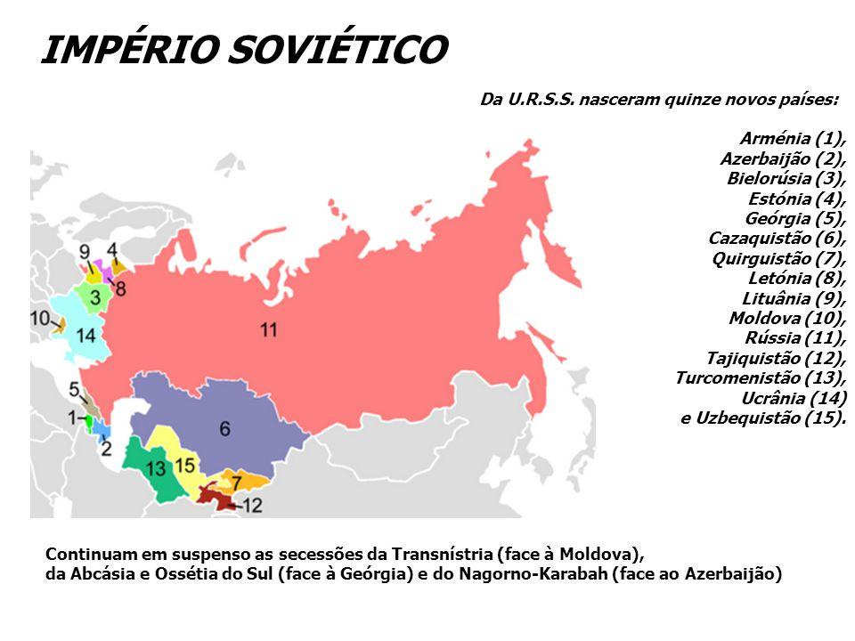 IMPÉRIO SOVIÉTICO Da U.R.S.S. nasceram quinze novos países: