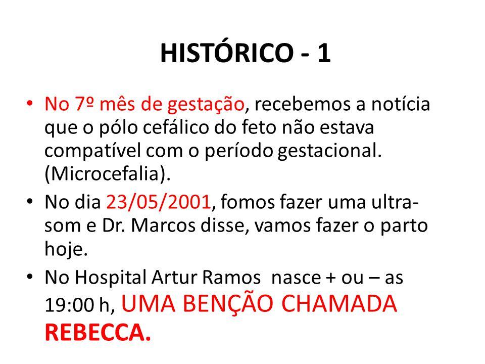 HISTÓRICO - 1 No 7º mês de gestação, recebemos a notícia que o pólo cefálico do feto não estava compatível com o período gestacional. (Microcefalia).