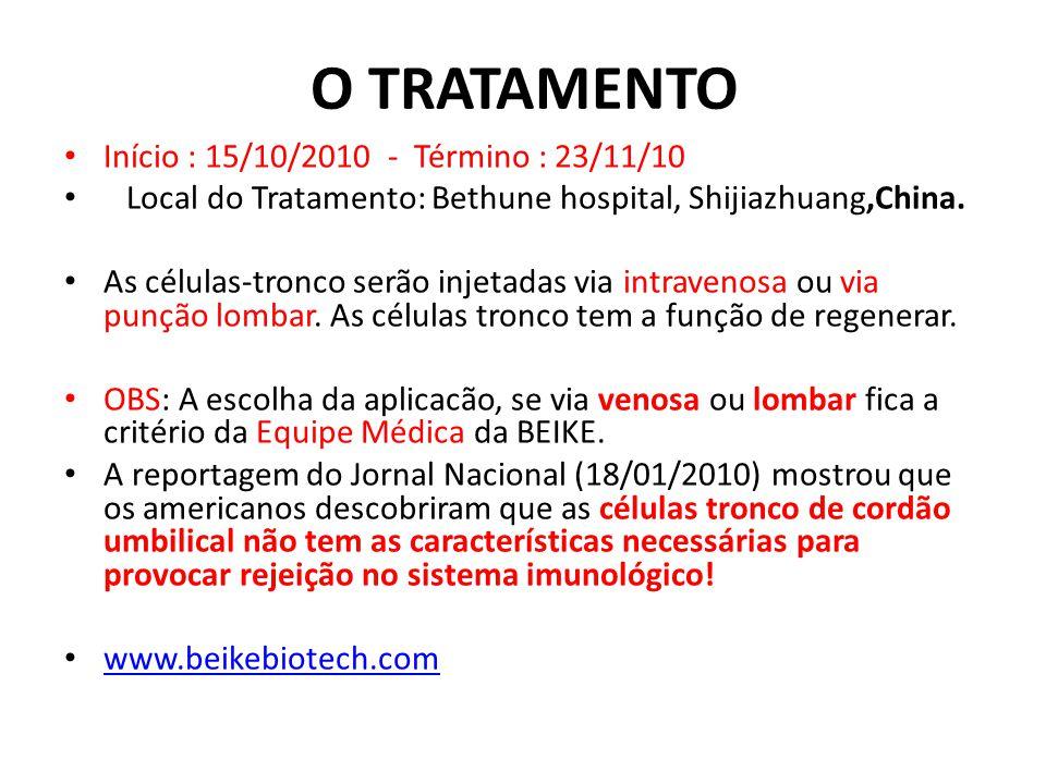 O TRATAMENTO Início : 15/10/2010 - Término : 23/11/10