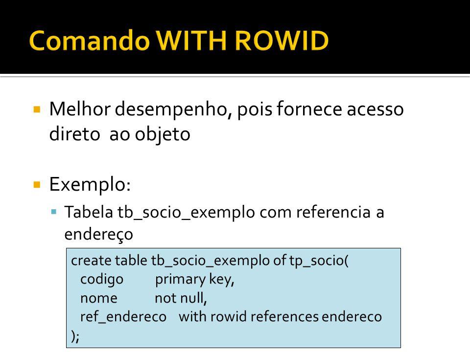 Comando WITH ROWID Melhor desempenho, pois fornece acesso direto ao objeto. Exemplo: Tabela tb_socio_exemplo com referencia a endereço.