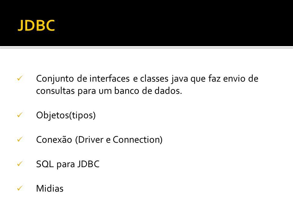 JDBC Conjunto de interfaces e classes java que faz envio de consultas para um banco de dados. Objetos(tipos)