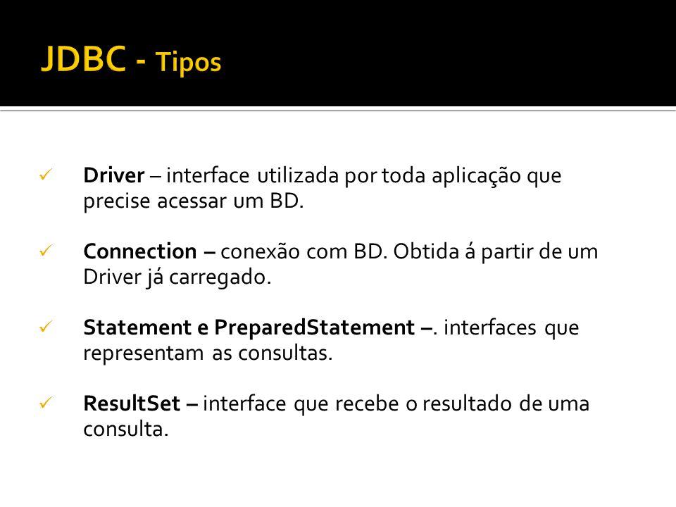 JDBC - Tipos Driver – interface utilizada por toda aplicação que precise acessar um BD.