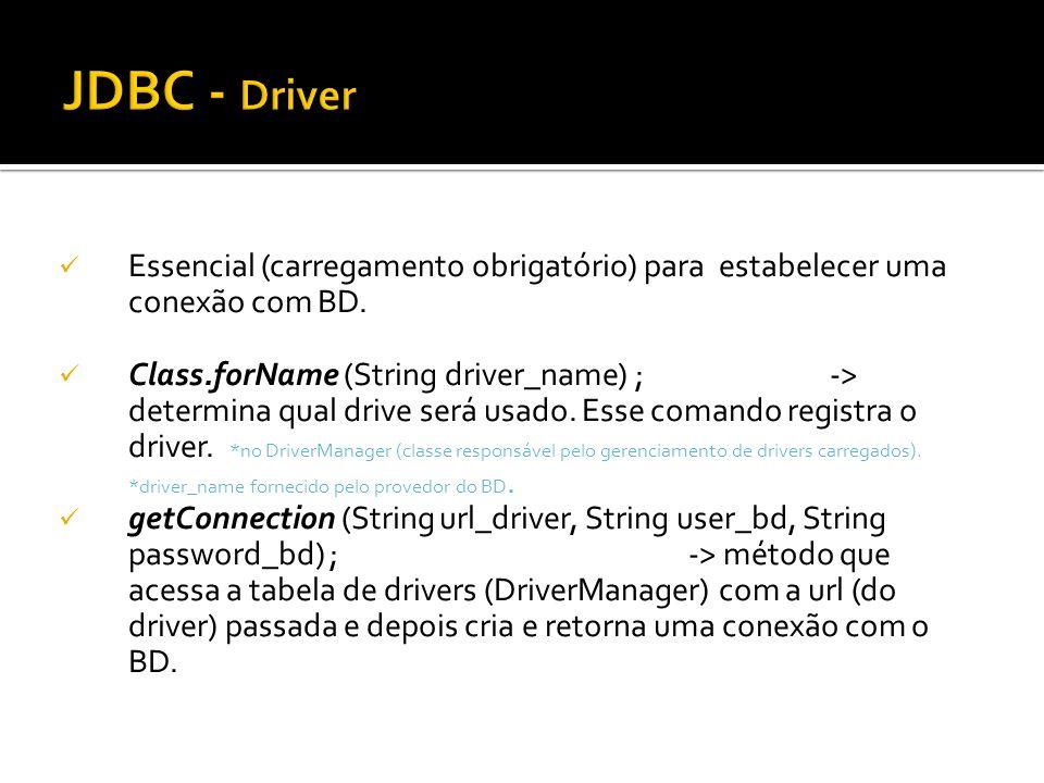 JDBC - Driver Essencial (carregamento obrigatório) para estabelecer uma conexão com BD.