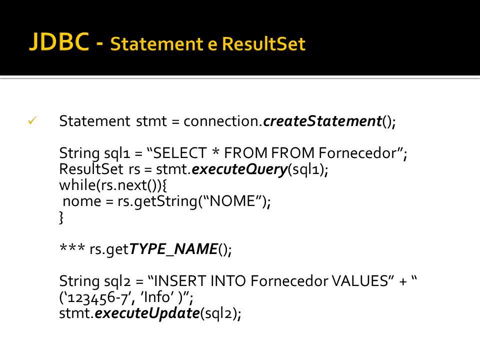 JDBC - Statement e ResultSet