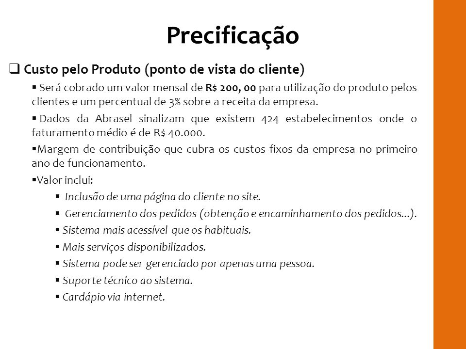 Precificação RILAY Custo pelo Produto (ponto de vista do cliente)
