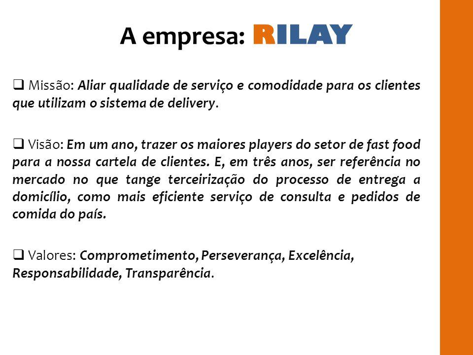 A empresa: RILAY Missão: Aliar qualidade de serviço e comodidade para os clientes que utilizam o sistema de delivery.