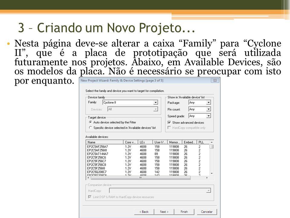 3 – Criando um Novo Projeto...