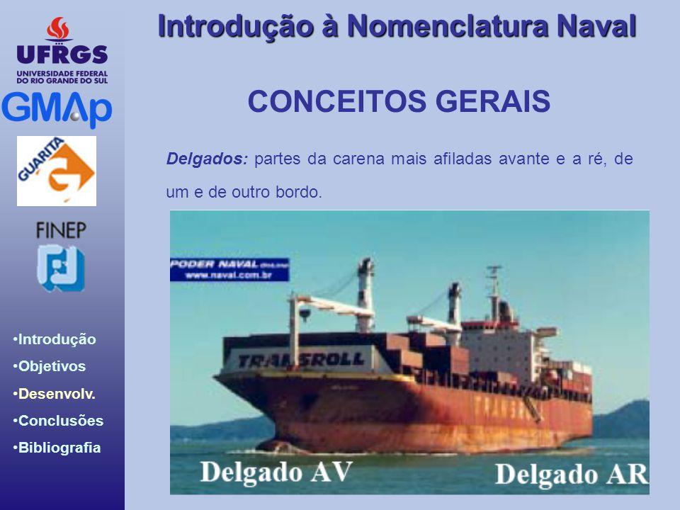 CONCEITOS GERAIS Delgados: partes da carena mais afiladas avante e a ré, de um e de outro bordo.