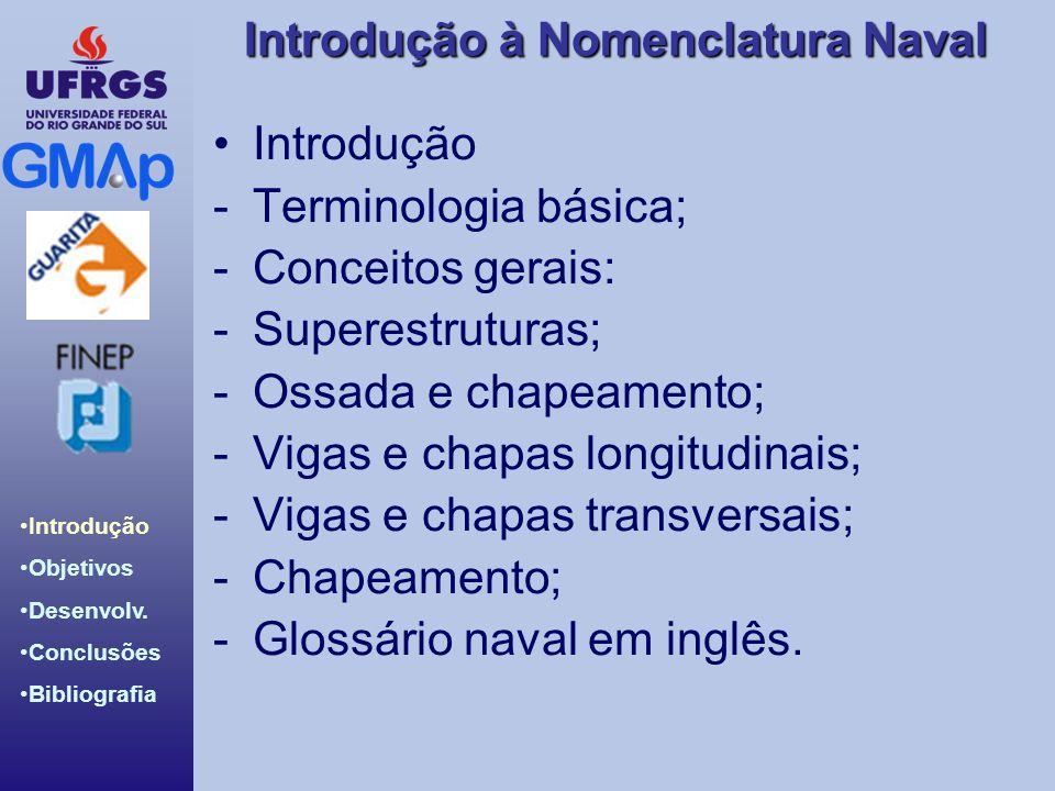 Introdução Terminologia básica; Conceitos gerais: Superestruturas; Ossada e chapeamento; Vigas e chapas longitudinais;