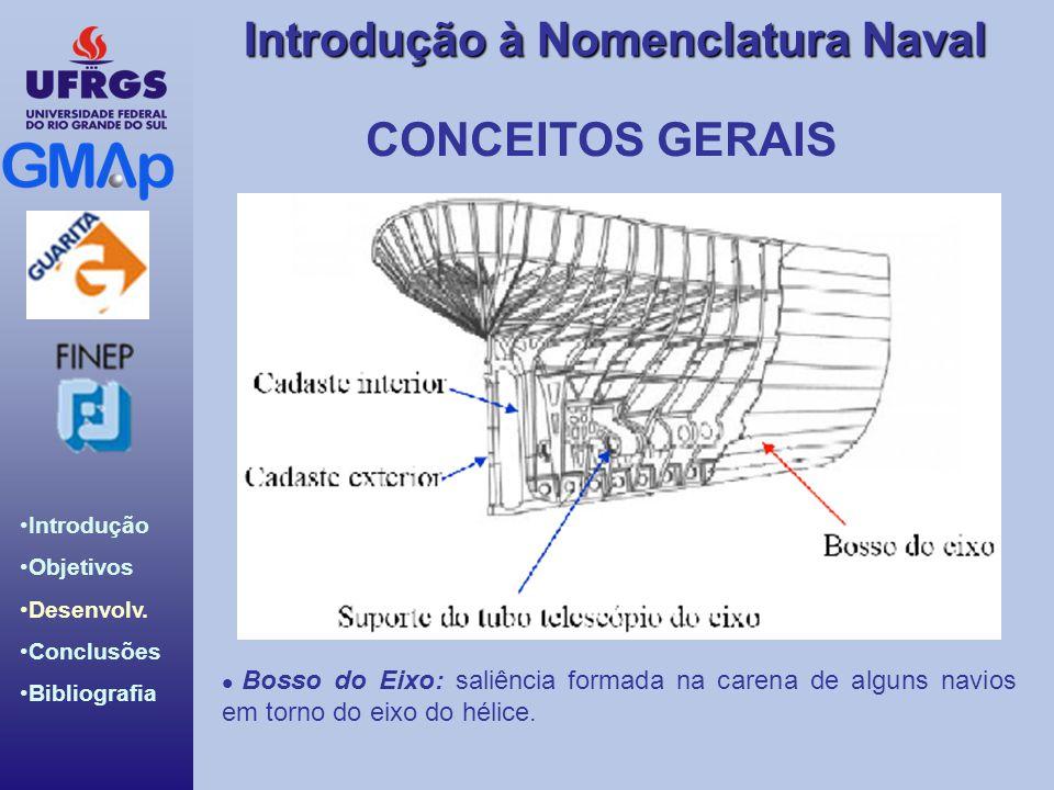 CONCEITOS GERAIS Bosso do Eixo: saliência formada na carena de alguns navios em torno do eixo do hélice.