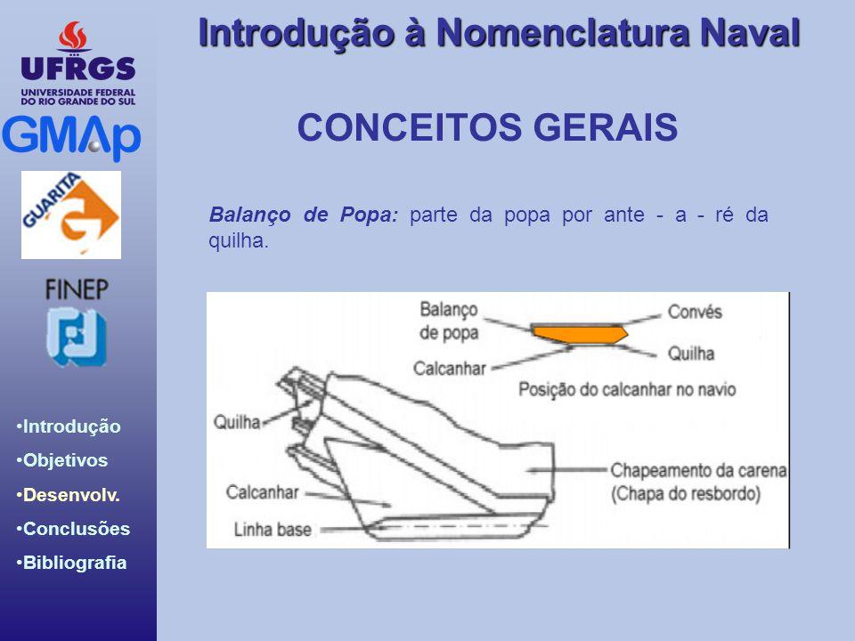CONCEITOS GERAIS Balanço de Popa: parte da popa por ante - a - ré da quilha.