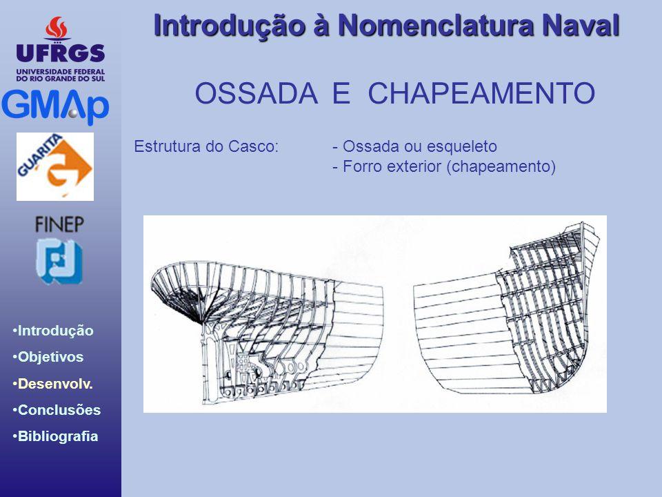OSSADA E CHAPEAMENTO Estrutura do Casco: - Ossada ou esqueleto
