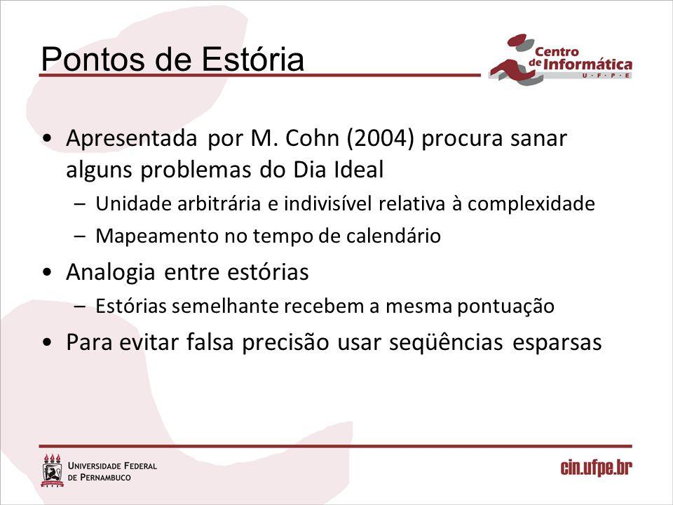 Pontos de Estória Apresentada por M. Cohn (2004) procura sanar alguns problemas do Dia Ideal.