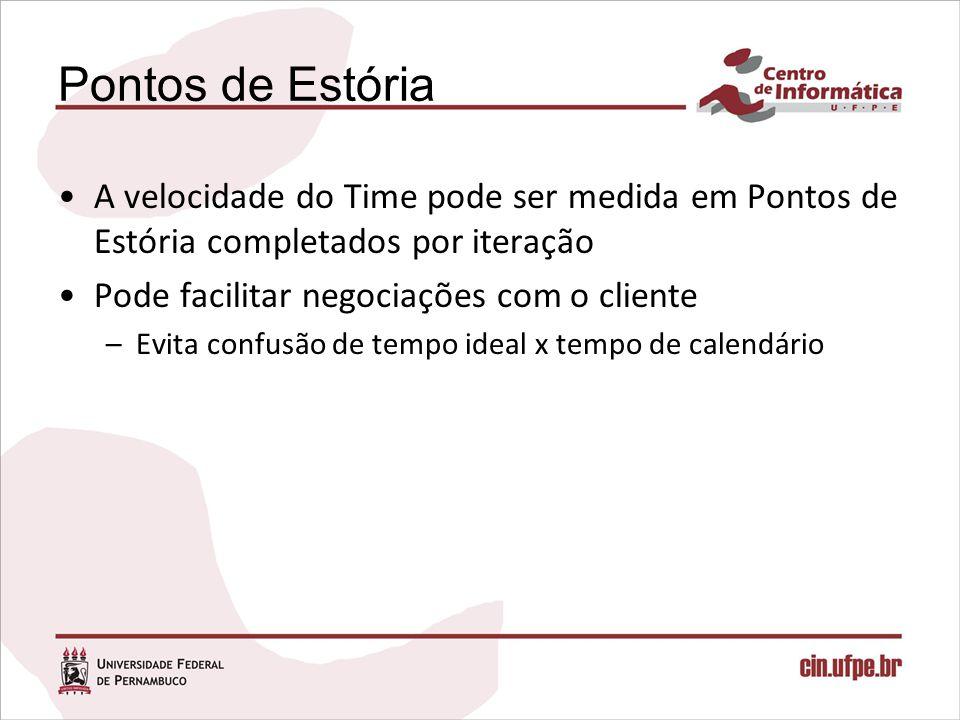 Pontos de Estória A velocidade do Time pode ser medida em Pontos de Estória completados por iteração.