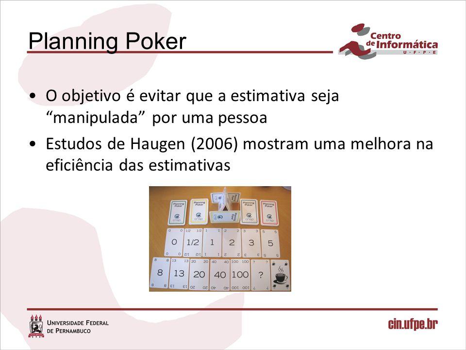 Planning Poker O objetivo é evitar que a estimativa seja manipulada por uma pessoa.