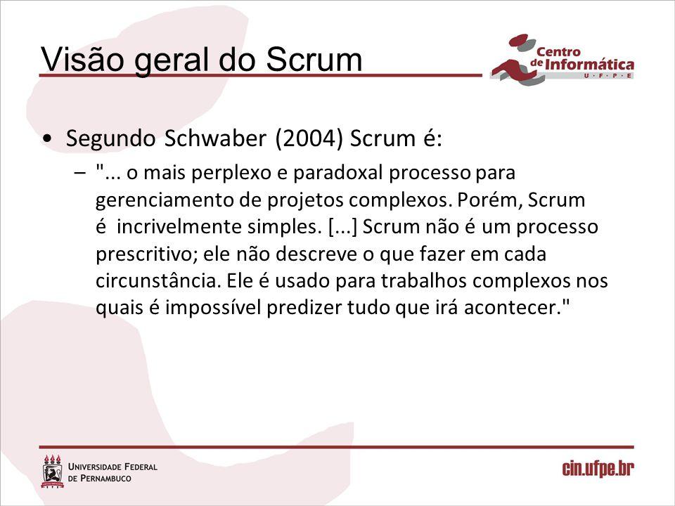 Visão geral do Scrum Segundo Schwaber (2004) Scrum é: