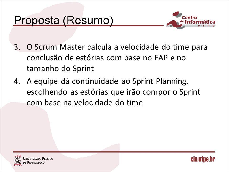 Proposta (Resumo) O Scrum Master calcula a velocidade do time para conclusão de estórias com base no FAP e no tamanho do Sprint.