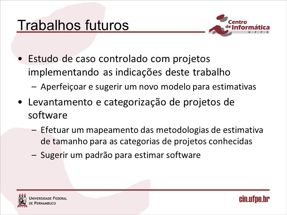 Trabalhos futuros Estudo de caso controlado com projetos implementando as indicações deste trabalho.