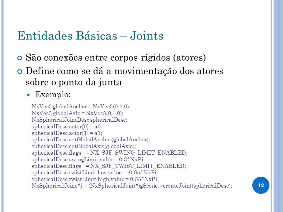 Entidades Básicas – Joints