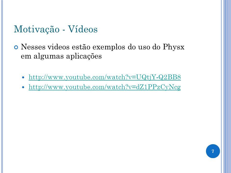 Motivação - Vídeos Nesses videos estão exemplos do uso do Physx em algumas aplicações. http://www.youtube.com/watch v=UQtjY-Q2BB8.