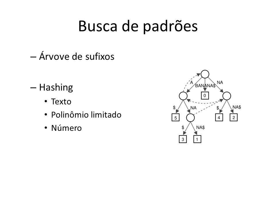 Busca de padrões Árvove de sufixos Hashing Texto Polinômio limitado
