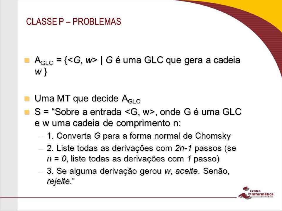 AGLC = {<G, w> | G é uma GLC que gera a cadeia w }