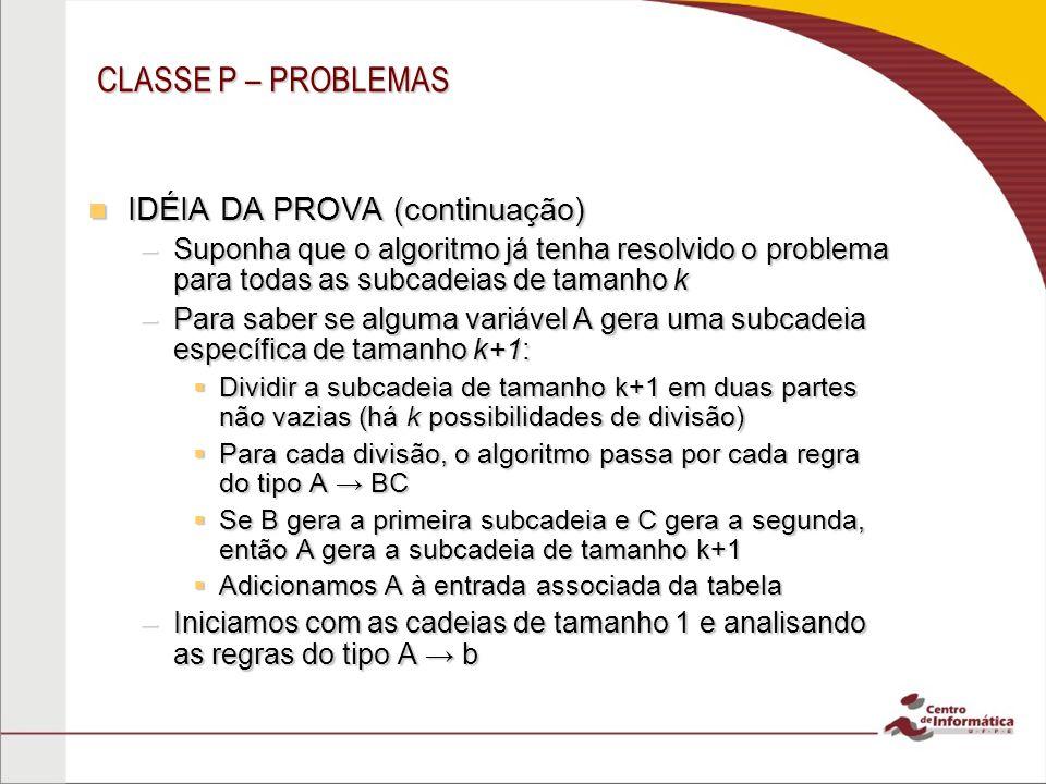 CLASSE P – PROBLEMAS IDÉIA DA PROVA (continuação)