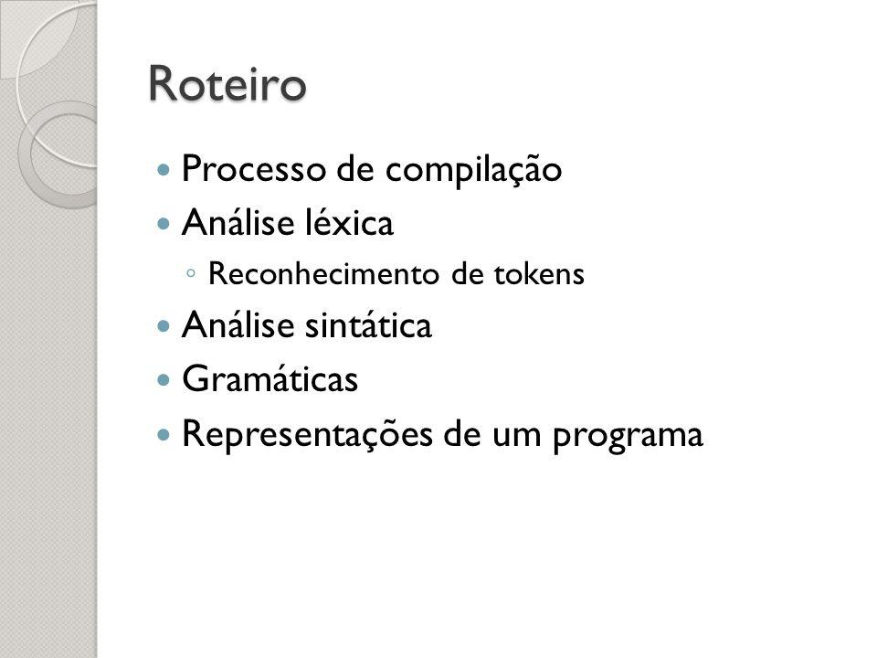 Roteiro Processo de compilação Análise léxica Análise sintática