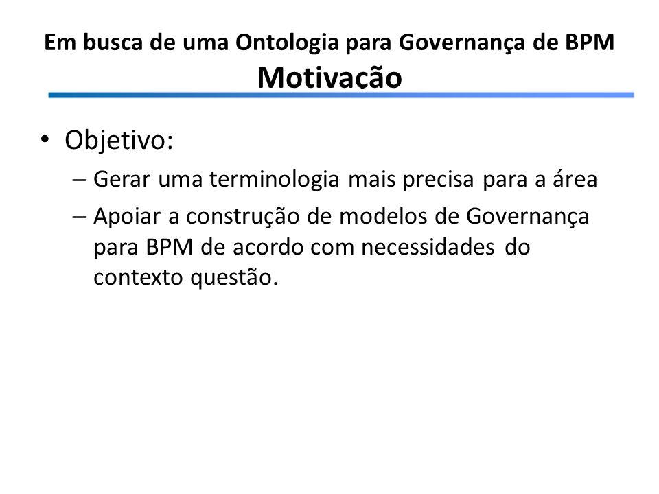 Em busca de uma Ontologia para Governança de BPM Motivação