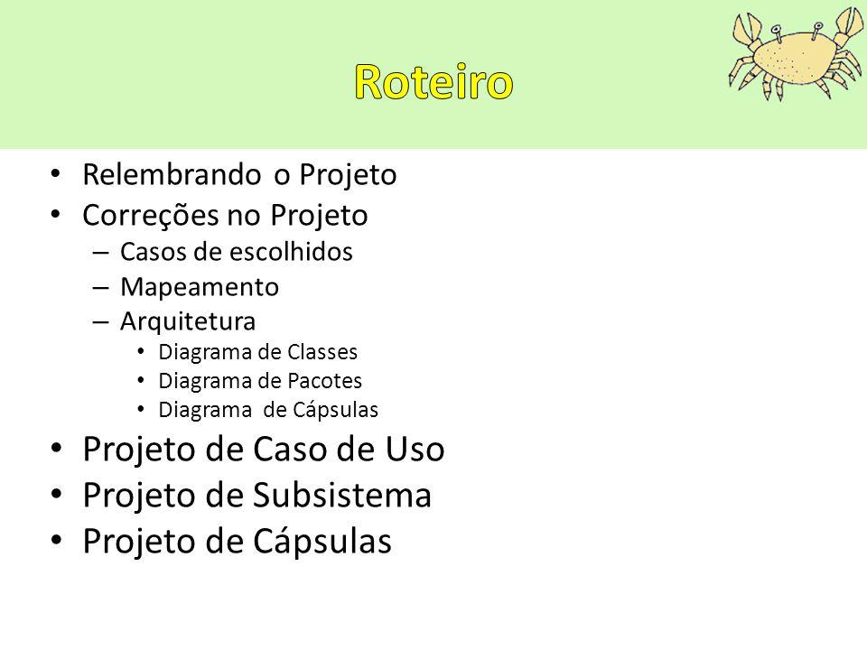 Roteiro Projeto de Caso de Uso Projeto de Subsistema