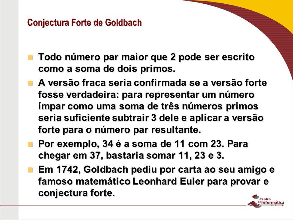 Conjectura Forte de Goldbach