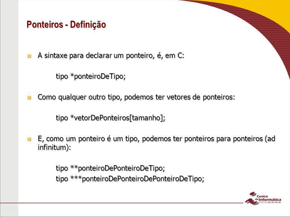 Ponteiros - Definição A sintaxe para declarar um ponteiro, é, em C: