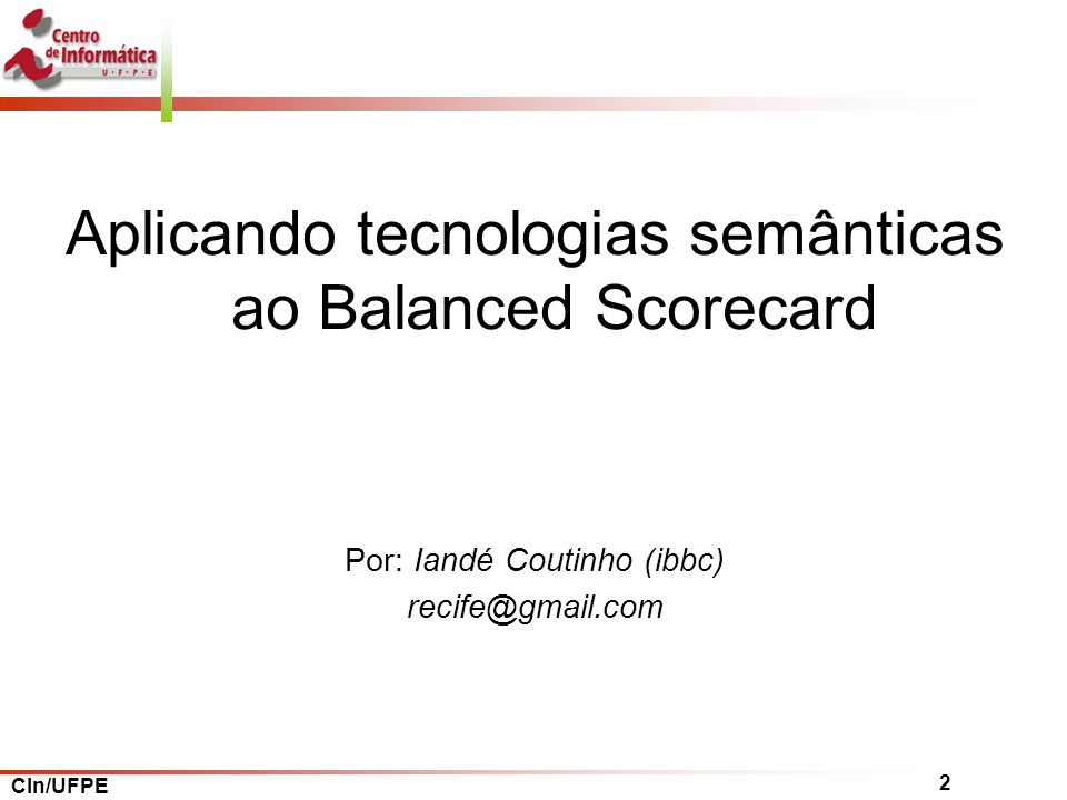 Aplicando tecnologias semânticas ao Balanced Scorecard