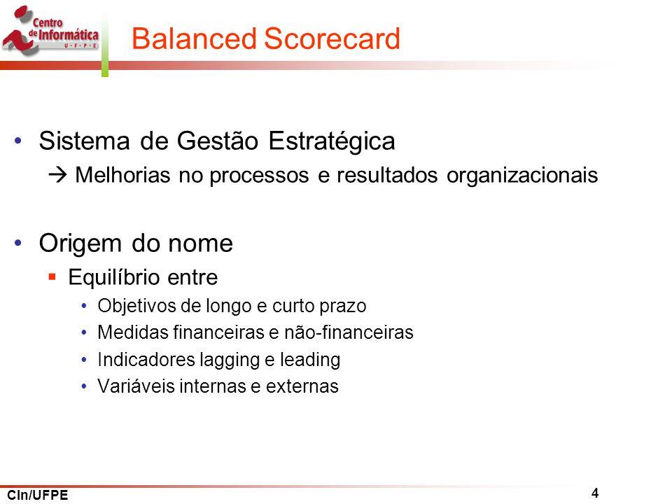 Balanced Scorecard Sistema de Gestão Estratégica Origem do nome