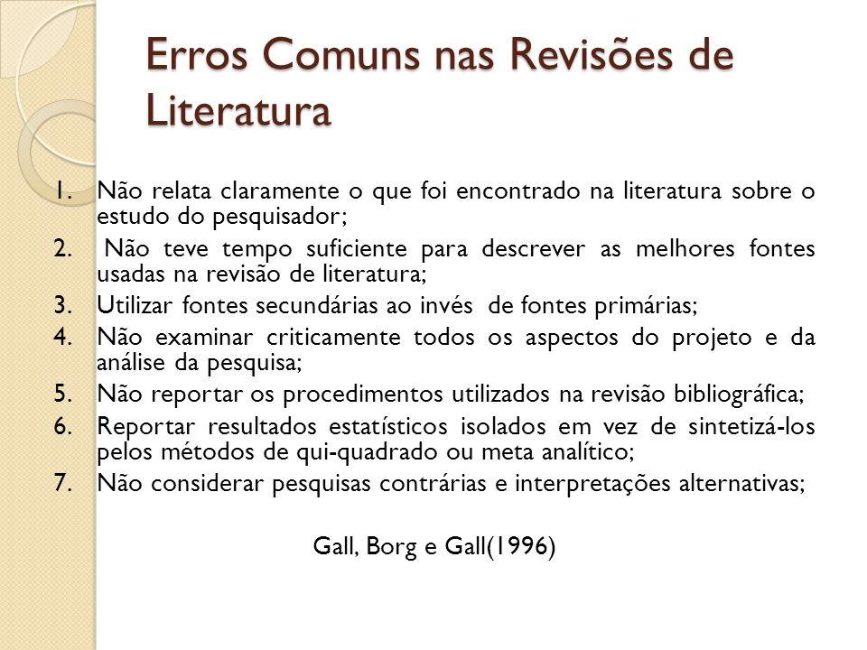 Erros Comuns nas Revisões de Literatura