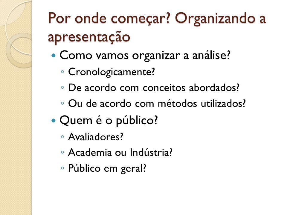 Por onde começar Organizando a apresentação