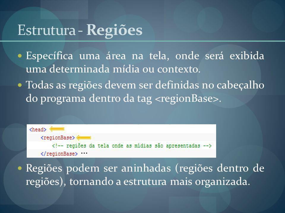 Estrutura - Regiões Específica uma área na tela, onde será exibida uma determinada mídia ou contexto.