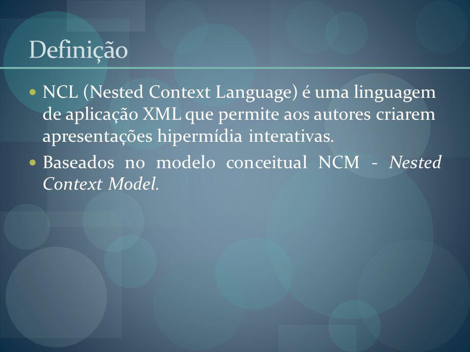 Definição NCL (Nested Context Language) é uma linguagem de aplicação XML que permite aos autores criarem apresentações hipermídia interativas.