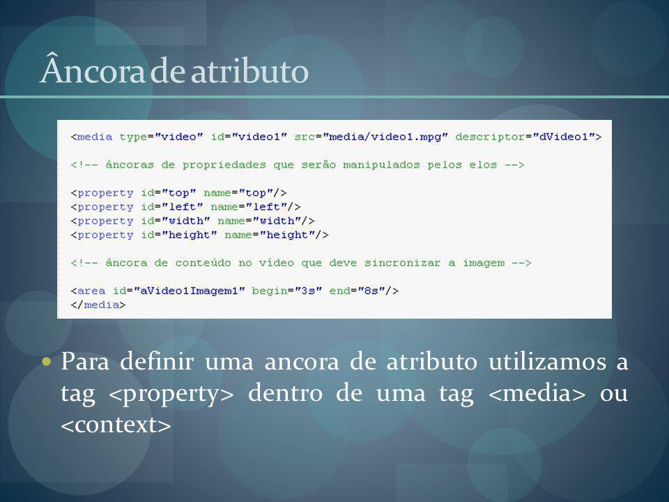 Âncora de atributo Para definir uma ancora de atributo utilizamos a tag <property> dentro de uma tag <media> ou <context>