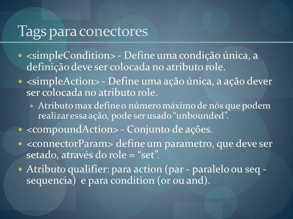 Tags para conectores <simpleCondition> - Define uma condição única, a definição deve ser colocada no atributo role.