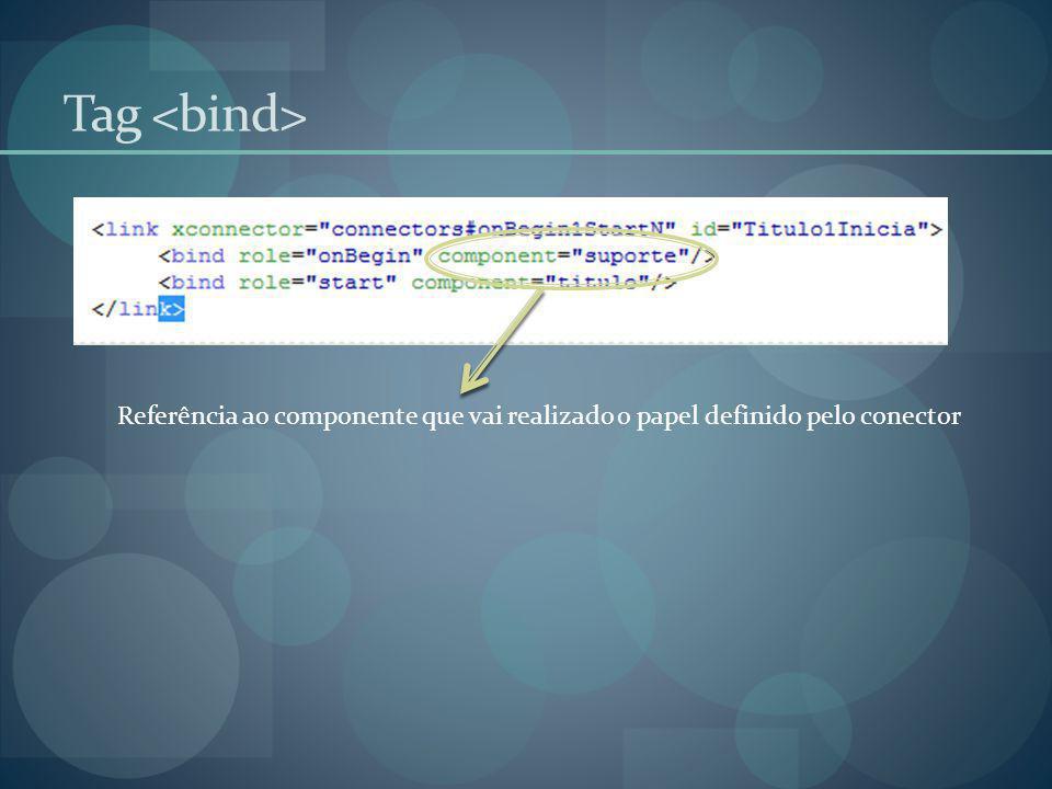 Tag <bind> Referência ao componente que vai realizado o papel definido pelo conector