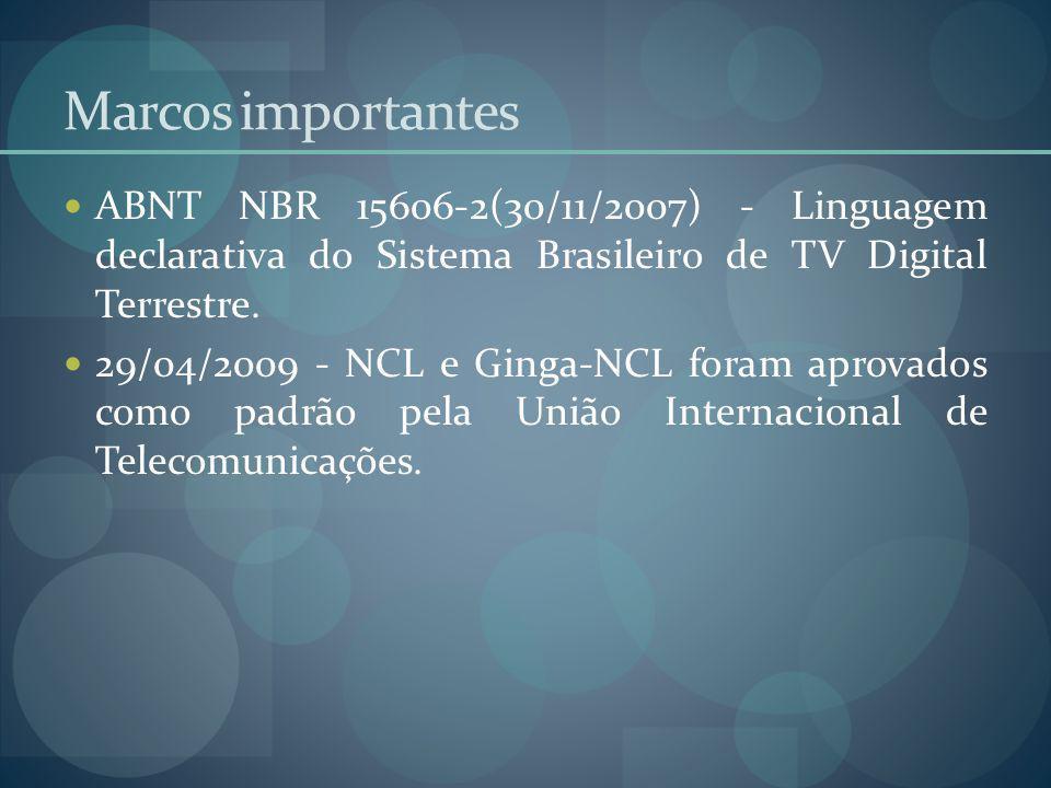 Marcos importantes ABNT NBR 15606-2(30/11/2007) - Linguagem declarativa do Sistema Brasileiro de TV Digital Terrestre.
