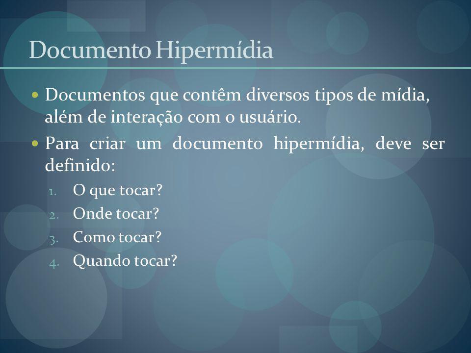 Documento Hipermídia Documentos que contêm diversos tipos de mídia, além de interação com o usuário.