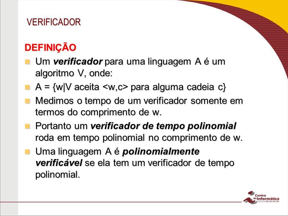 VERIFICADOR DEFINIÇÃO. Um verificador para uma linguagem A é um algoritmo V, onde: A = {w|V aceita <w,c> para alguma cadeia c}