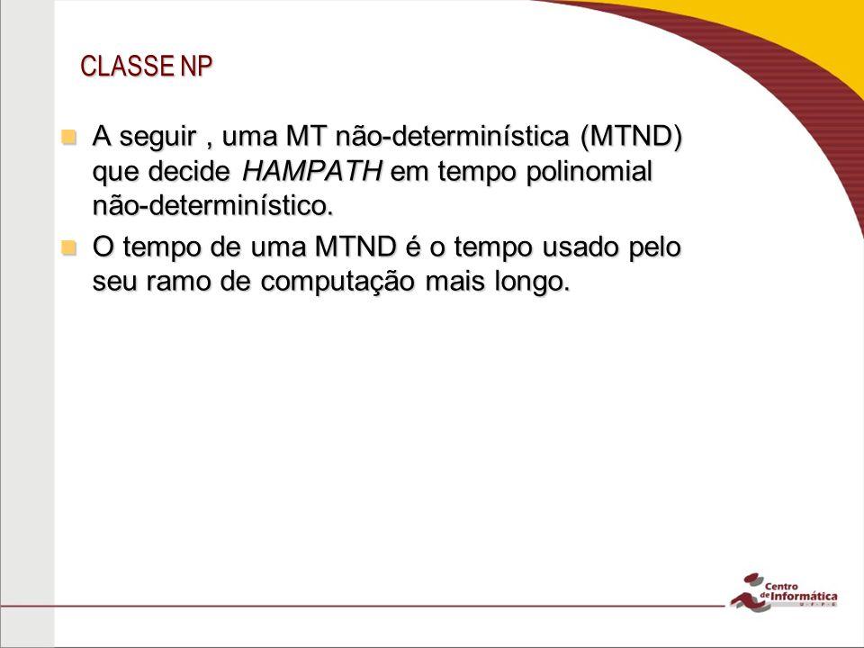 CLASSE NP A seguir , uma MT não-determinística (MTND) que decide HAMPATH em tempo polinomial não-determinístico.