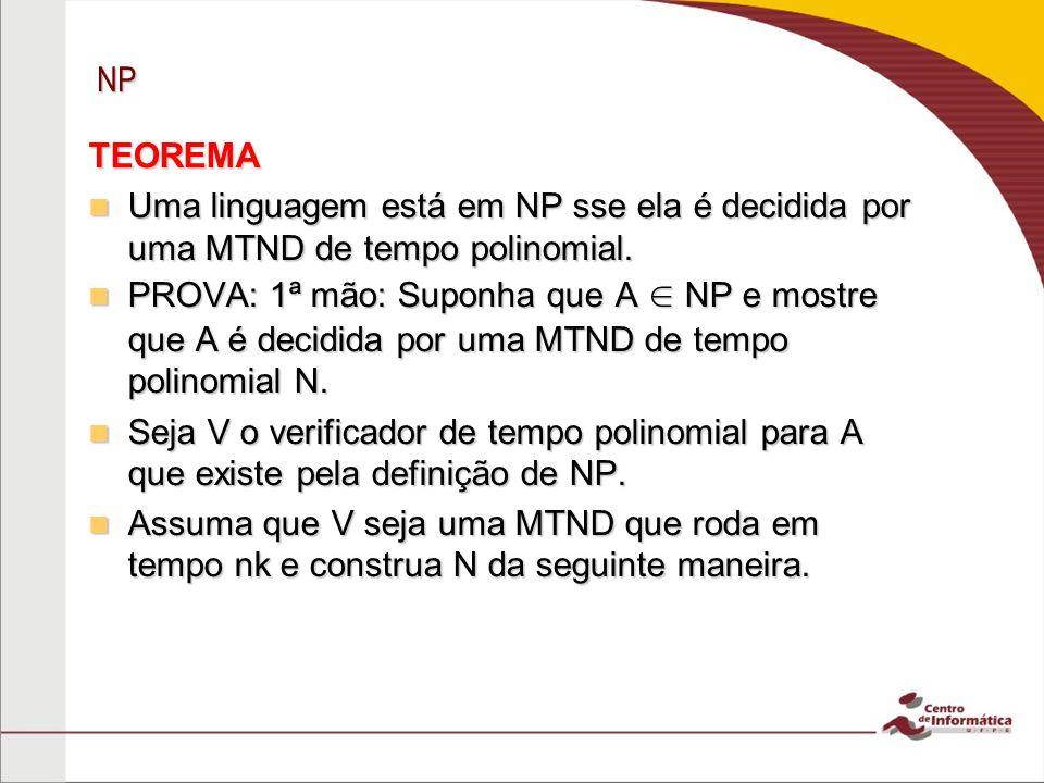 NP TEOREMA. Uma linguagem está em NP sse ela é decidida por uma MTND de tempo polinomial.