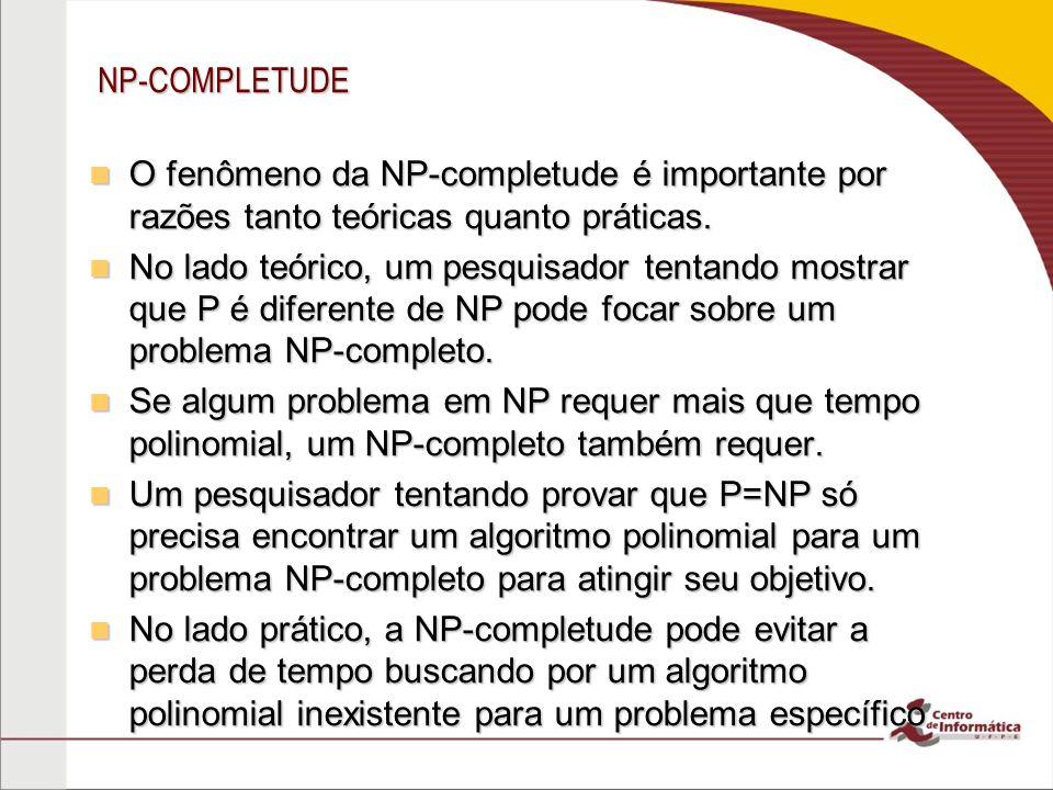 NP-COMPLETUDE O fenômeno da NP-completude é importante por razões tanto teóricas quanto práticas.