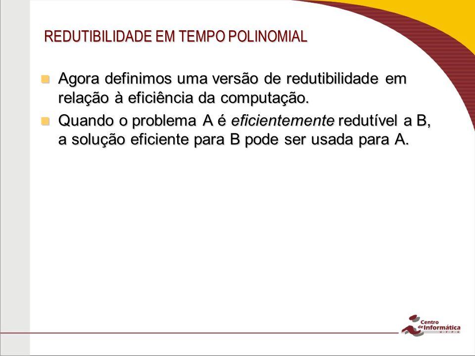 REDUTIBILIDADE EM TEMPO POLINOMIAL